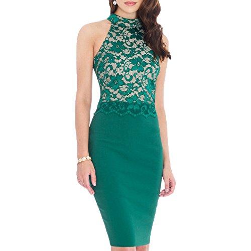 Elegant Sleeveless Floral Lace Vintage Midi Cocktail Party Dress