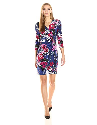 Adrianna Papell Women's 3/4 Slv Drape Frt Wrap Dress, Blue/Multi, S