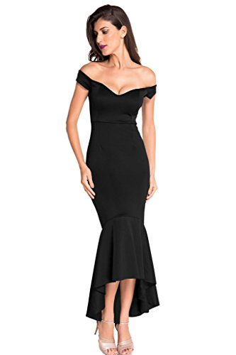 Astylish Womens Evening Dress Off Shoulder Flouncing Mermaid Formal Prom Gowns Large Black