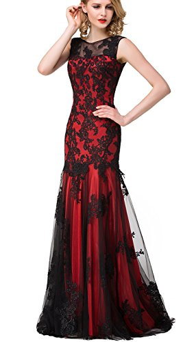 Babyonlinedress Trumpet lace applique burgundy Long evening party dress,Burgundy,16
