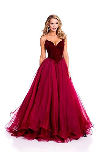 CEZOM Burgundy V Neck Formal Corset Prom Evening Dresses Celebrity Dress Lace Up