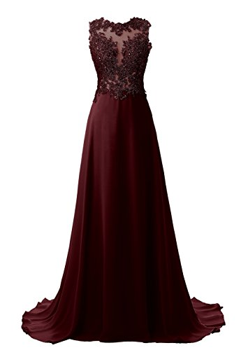 Callmelady Lace Appliqued Prom Dresses 2017 Long Evening Gowns for Women Formal (Dark Burgundy, US2)