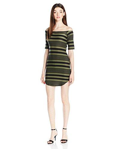 Derek Heart Women's Stripe Off Shoulder Kylie Dress, Black, S
