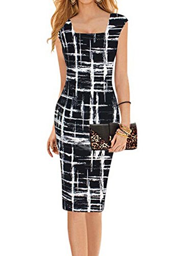Faithtur Square Neck Sketch Stripes Print Bodycon Midi Knee Long Pencil Dress (Label S)