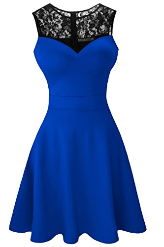 Heloise Women's A-Line Sleeveless Pleated Little Blue Cocktail Party Dress With Black Floral Lace (L, Blue)