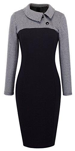 Homeyee Women's Retro Chic Colorblock Lapel Career Tunic Dress B238 (L, White)