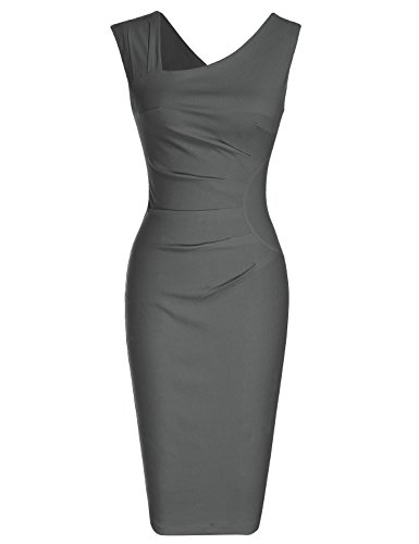 MUXXN Women's Pure Asymmetric Neckline Casual Work Midi Dress(M Gray)