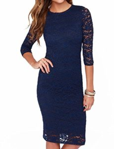 Mantos-Eternity-Womens-Elegant-Floral-Lace-23-Sleeve-Slim-Evening-Dress-Blue-Size-US-4-0