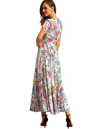 f3c9b8ee5cc Milumia Women s Button Up Split Floral Print Flowy Party Maxi Dress Pink L