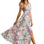 Milumia Women's Button Up Split Floral Print Flowy Party Maxi Dress Pink L