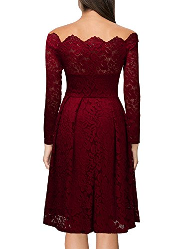 fdffc048ae5 MissMay Women s Vintage Floral Lace Long Sleeve Boat Neck Cocktail Formal  Swing Dress Red X-
