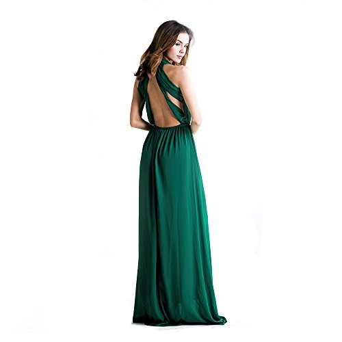 Missord Sexy Deep V Backless Sleeveless Cross Back Maxi Dress X-Small Green