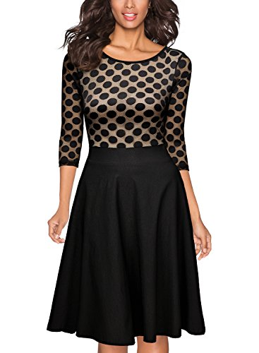 Miusol Women's 1950'S Vintage Polka Dot Optical Illusion 2/3 Sleeve Casual Swing Dress