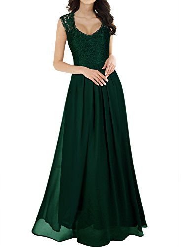 Miusol Women's Casual Deep- V Neck Sleeveless Vintage Maxi Black Dress (3X-Large, Green)