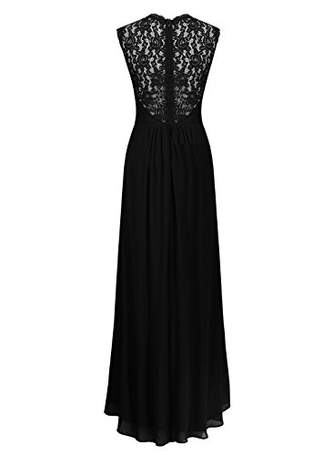 c7e3efcb3 Miusol Women's Casual Deep- V Neck Sleeveless Vintage Maxi Black Dress Small