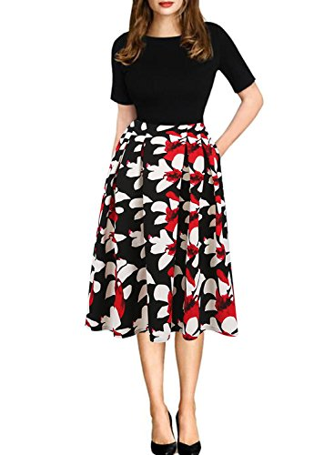 Oxiuly Women's Patchwork Foral Pockets Puffy Swing Casual Party Dress OX165 (2XL, black + red)