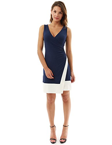 PattyBoutik Women's Block Color V Neck Faux Wrap Dress (Navy Blue and Ivory M)