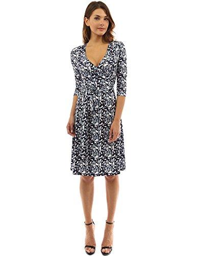 PattyBoutik Women's Faux Wrap A Line Dress (Gray, White and Black S)