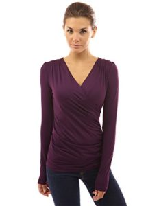 PattyBoutik-Womens-Faux-Wrap-Long-Sleeve-Pullover-Blouse-Dark-Purple-S-0