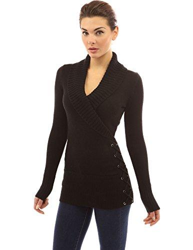 PattyBoutik Women's Shawl Collar Faux Wrap Lace Up Sweater (Black S)