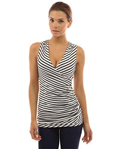 PattyBoutik Women's Striped V Neck Faux Wrap Top (Ivory with Black Stripes S)