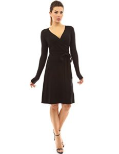 PattyBoutik-Womens-V-Neck-Faux-Wrap-Long-Sleeve-Knit-Dress-Black-S-0