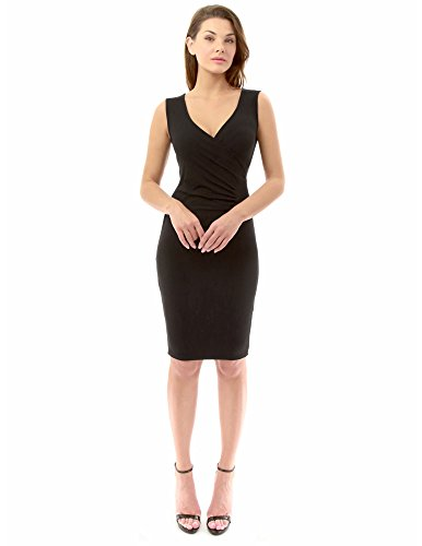 PattyBoutik Women's V Neck Pleated Faux Wrap Sheath Dress (Black S)