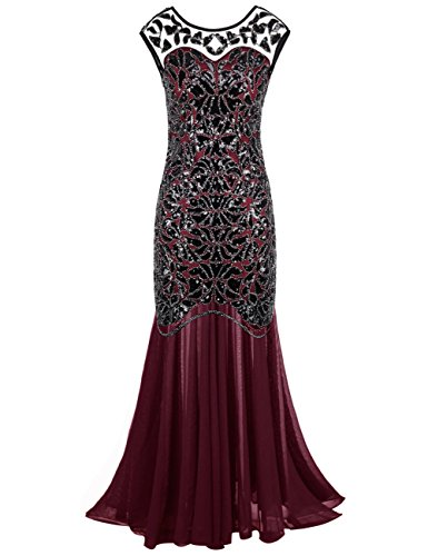 PrettyGuide Women 's 1920s Sequin Gatsby Flapper Formal Evening Prom Dress XS Burgundy