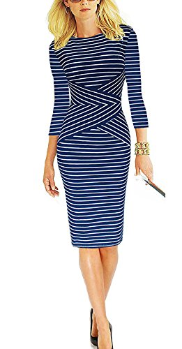 REPHYLLIS Women 3/4 Sleeve Striped Wear to Work Business Cocktail Party Summer Pencil Dress Blue XL