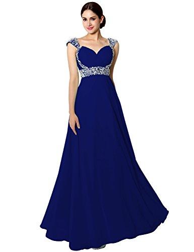 Sarahbridal Womens Long Chiffon Beading Bridesmaid Evening Dress US10 Royal Blue
