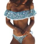 Tempt Me Women Two Pieces Clear Sexy Floral Print Crop Ruffled Off-shoulder Bikini Blue M