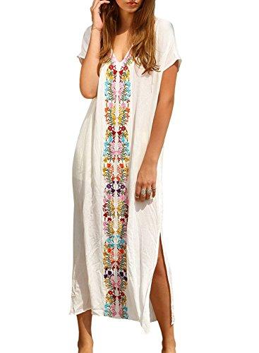Womens Colorful Cotton Embroidered Turkish Kaftans Beachwear Bikini Cover up Dress, White, One Size fits US XS – XL