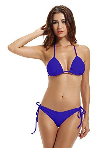 Zeraca Women's Tie Side Bottom Triangle Bikini Swimsuits (M10, Smouldering Navy)